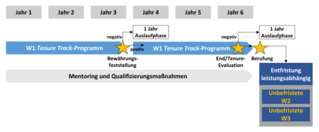Image (only in German): Standard procedures for W1 Tenure Track, extension due to parental leave, illness or part-time employment (Click on image to enlarge), © Charité